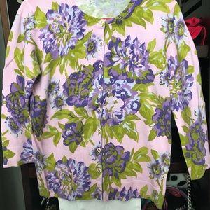 Isaac Mizrahi Purple Flowered Sweater Like New
